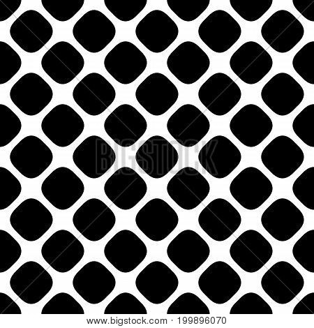Seamless abstract monochrome square pattern - halftone vector background graphic from diagonal rounded square dots