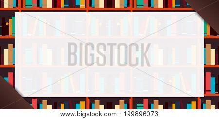 Banner Book Shelf Or Bookcase Background. Vector Illustration.