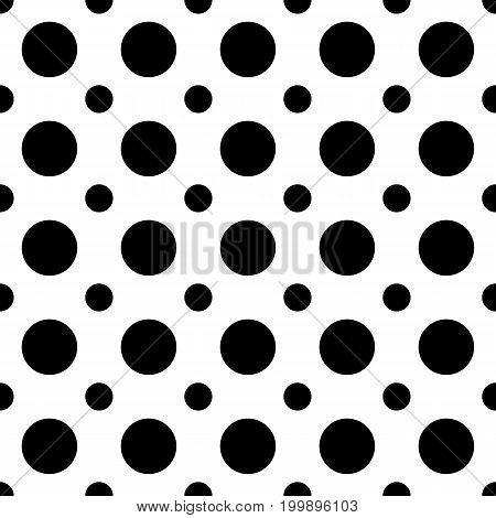 Seamless abstract monochrome polka dot pattern - simple vector background design from circles in two sizes
