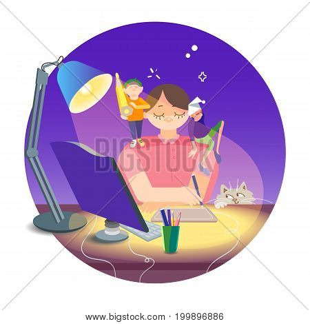 Colorful illustration with the image of a sleepy freelance artist in a state of inspiration. The artist draws on the tablet stylus. On the table colored pencils a modern computer reading lamp. Funny cat looking.