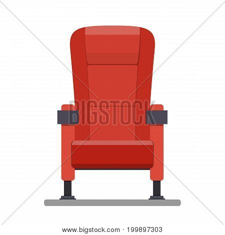 Cinema red comfortable seat for watching movies. Vector illustration in flat style