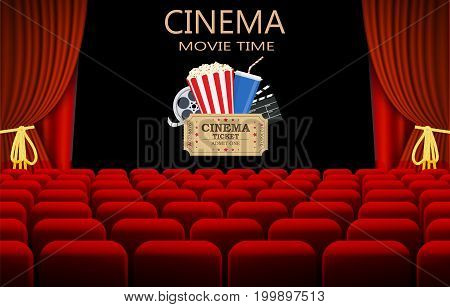 Movie theater with row of red seats clapperboard, soda and popcorn and ticket movie. Movie cinema premiere poster design