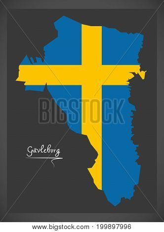 Gavleborg Map Of Sweden With Swedish National Flag Illustration