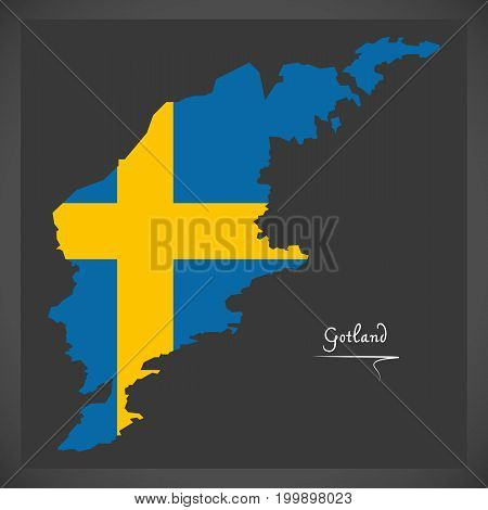 Gotland Map Of Sweden With Swedish National Flag Illustration