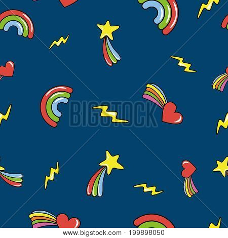 Seamless pattern with doodle comets lightnings rainbows on deep dark blue background. Vector illustration.