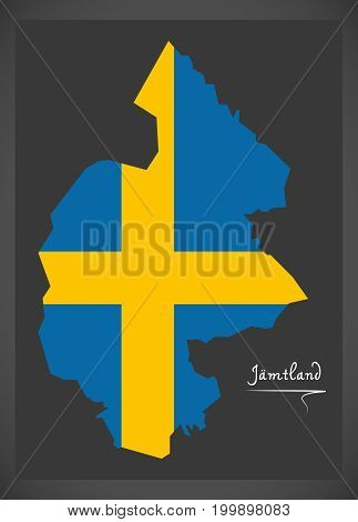Jamtland Map Of Sweden With Swedish National Flag Illustration