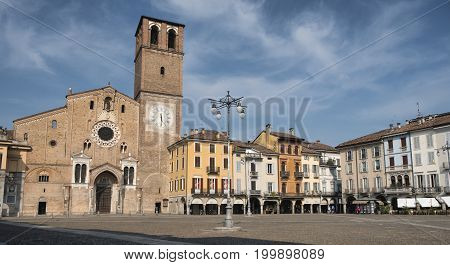 Lodi (Lombardy Italy): the historic cathedral square (piazza del Duomo)