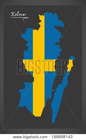 Kalmar Map Of Sweden With Swedish National Flag Illustration