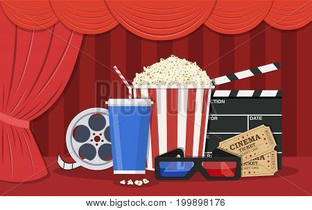 Retro movie set. Black clapperboard, box with popcorn, soda water glass, 3d glasses, Film reel, ticket. illustration in flat style.
