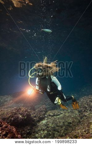 Cave Diver Underwater, Blue Background, Underwater Shoot, Color Image
