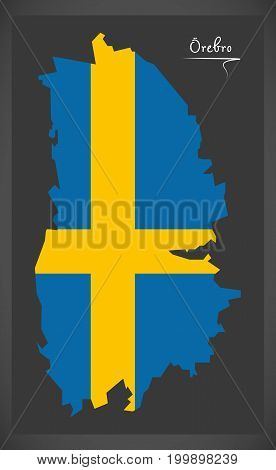 Orebro Map Of Sweden With Swedish National Flag Illustration