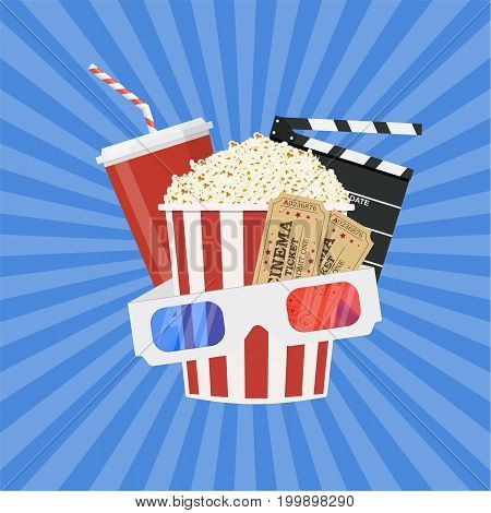 Cinema and Movie time concept with popcorn, 3D glasses and tickets. Vector illustration in flat style