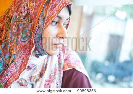 portrait of a beautiful sad girl closeup.