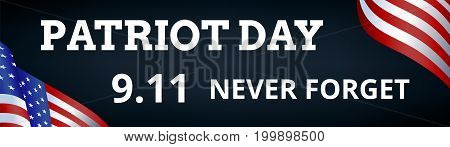 Patriot Day background with towers and US flag. Web banner
