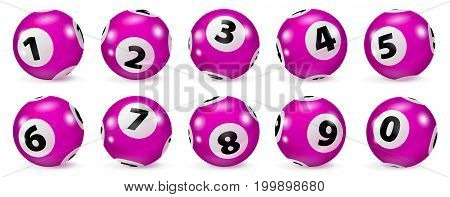 Lottery Number Balls. Bingo balls set. Bingo balls with numbers. Set of red balls. Realistic Illustration. Lotto concept. Red Bingo Ball.