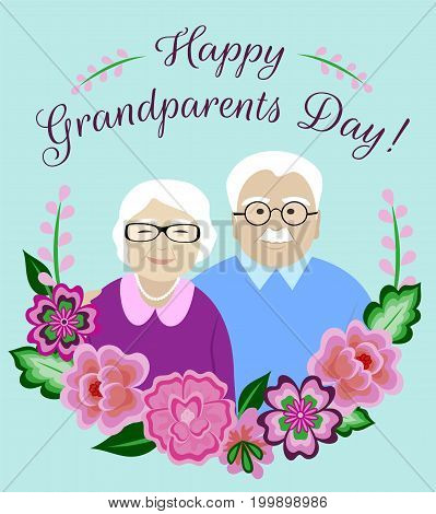Happy Grandparents Day card with senior couple