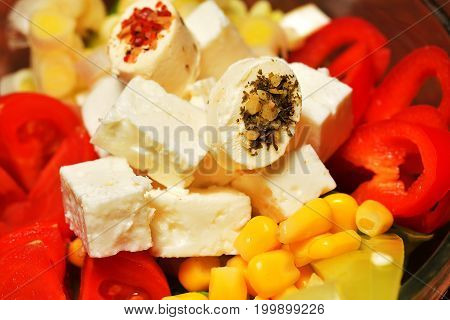 mixed salad with feta. salad with feta cheese,olive and vegetables mixed