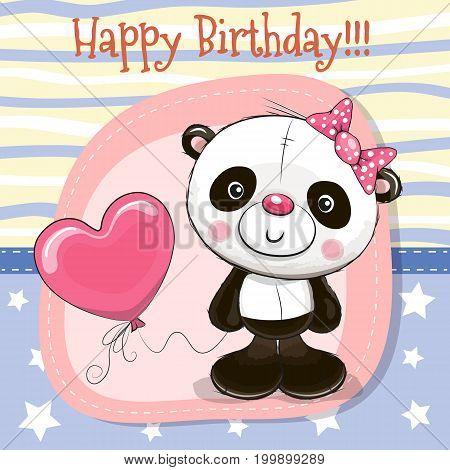 Cute Cartoon Panda With Balloon