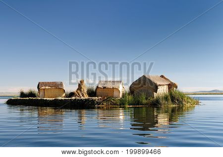 Peru Floating Uros islands on the Titicaca lake the largest highaltitude lake in the world (3808m). Theyre built using the buoyant totora reeds that grow abundantly in the shallows of the lake