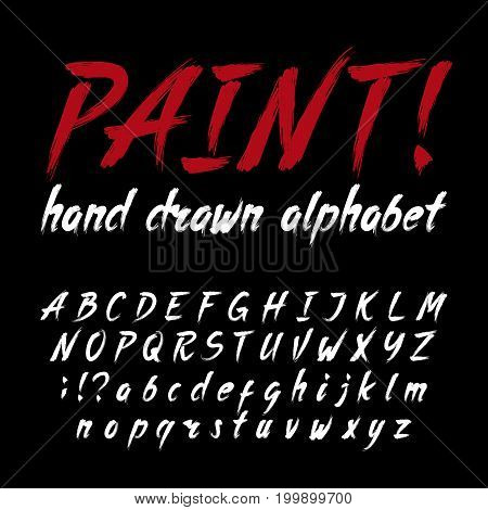 Hand drawn calligraphy brush stroke alphabet. Grunge style letters and numbers. Stock vector font for your design