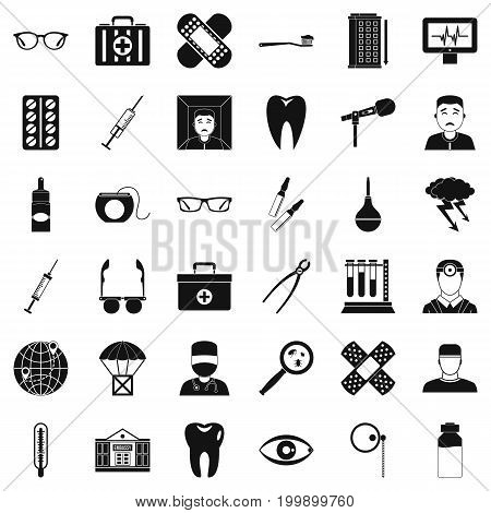 Doctor icons set. Simple style of 36 doctor vector icons for web isolated on white background