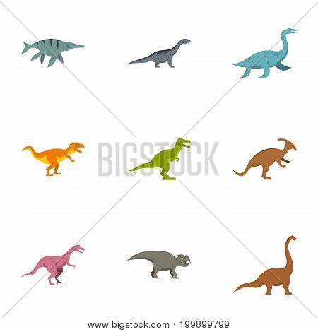 Different dinosaur icons set. Flat set of 9 different dinosaur vector icons for web isolated on white background