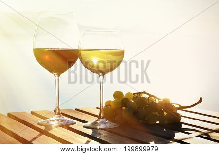 Wine and grapes. Lavaux region at Geneva lake, Switzerland