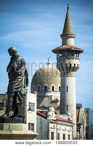 Constanta statue and landmarks in the Romanian Black Sea city