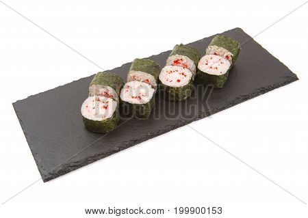 Fresh Made Sushi On A Slate Slab On White Background