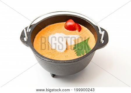 Metal Pot Of Fresh Made Creme Soup With Chicken On White