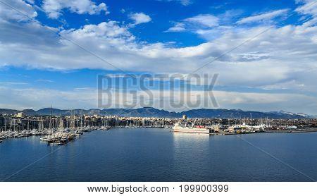 Yachts and Blue Dusk in Mallorca Harbor