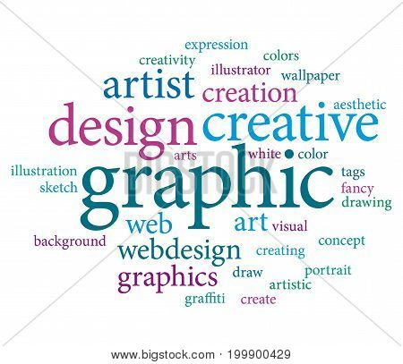 Graphic designer or marketing agency word cloud. Pink and blue tones design.
