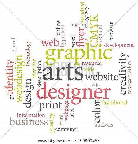 Graphic designer or marketing agency word cloud. Light acid colors.