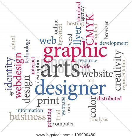 Graphic designer or marketing agency word cloud. Art design.