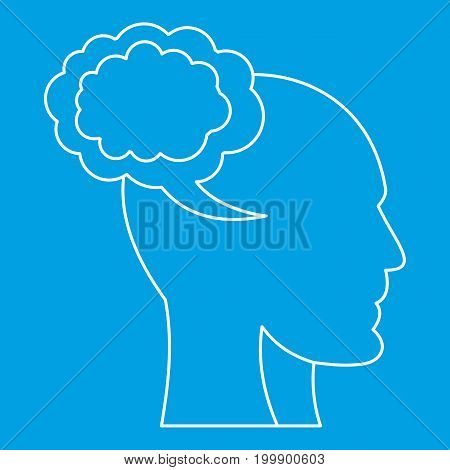 Cloud and human head icon blue outline style isolated vector illustration. Thin line sign
