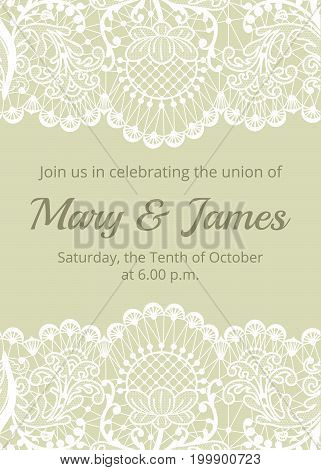 Wedding invitation template with white lace border on green background