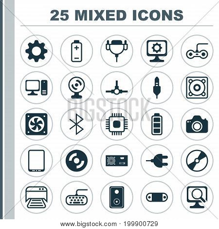 Computer Icons Set. Collection Of Battery, Cellphone, Wireless Connection And Other Elements
