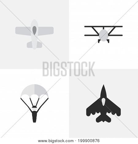 Elements Plane, Airplane, Catapults And Other Synonyms Aviation, Flying And Plane.  Vector Illustration Set Of Simple Airplane Icons.