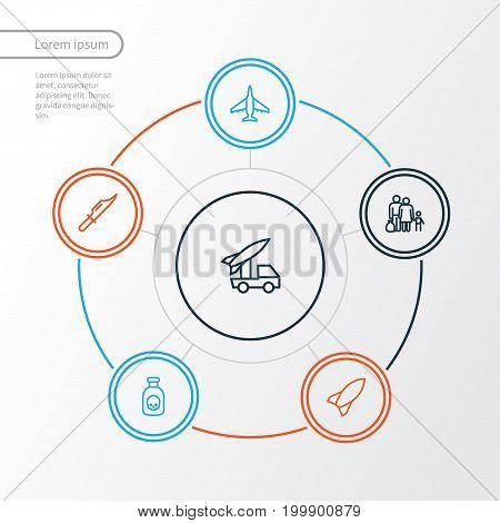 Warfare Outline Icons Set. Collection Of Cutter, Bomb, Rocket And Other Elements