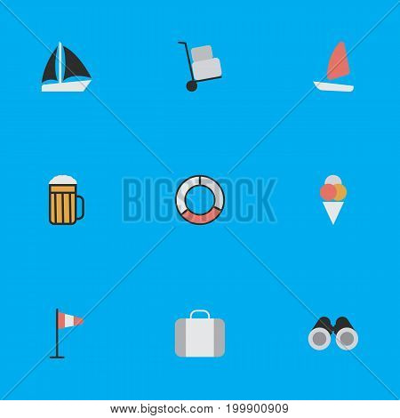 Elements Pub, Optical Zoom, Cargo And Other Synonyms Boat, Luggage And Alcohol.  Vector Illustration Set Of Simple Travel Icons.