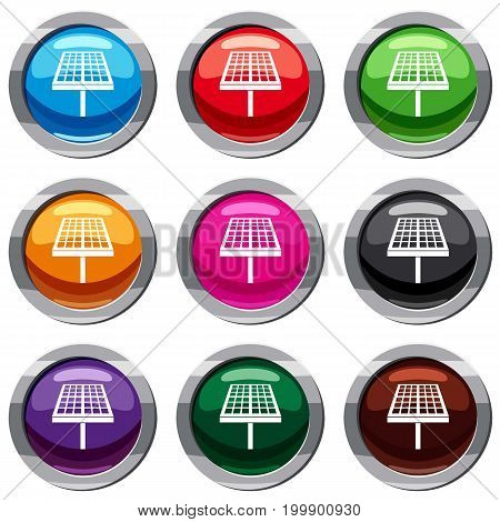 Solar energy panel set icon isolated on white. 9 icon collection vector illustration
