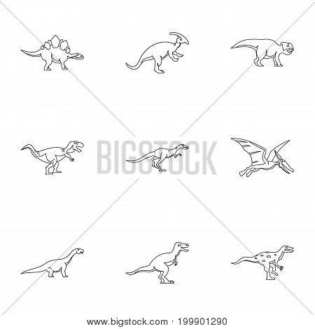 Different dinosaur icons set. Outline set of 9 different dinosaur vector icons for web isolated on white background