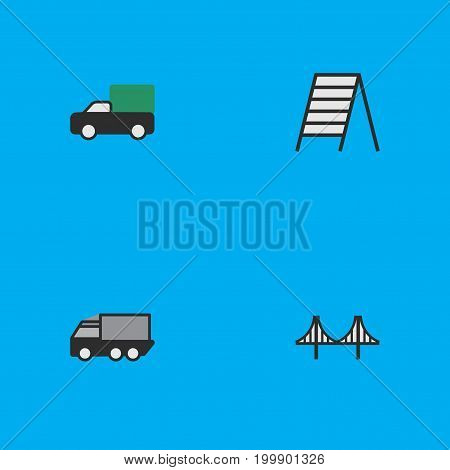 Elements Bridgework, Stairs, Pickup And Other Synonyms Truck, View And Stairs.  Vector Illustration Set Of Simple Traffic Icons.