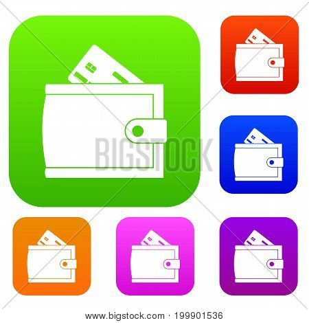 Wallet with credit card and cash set icon in different colors isolated vector illustration. Premium collection