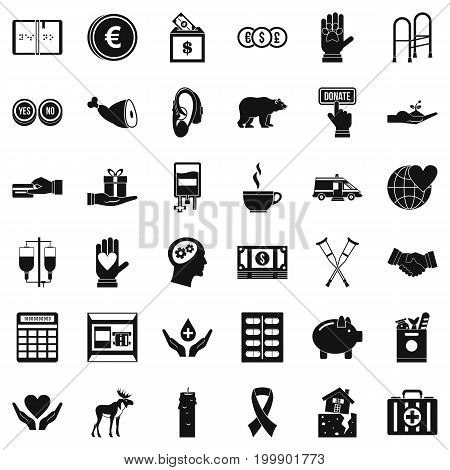 Donation icons set. Simple style of 36 donation vector icons for web isolated on white background