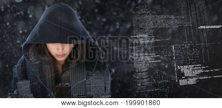 Female spy in hoodie against composite image of binary codes