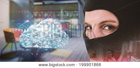 Portrait of female hacker wearing balaclava against cloud and malware detected on binary background