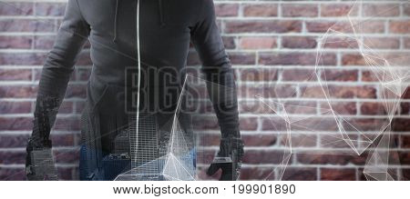 Robber wearing black hoodie against abstract black background