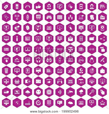 100 internet icons set in violet hexagon isolated vector illustration