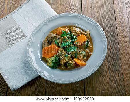 German Traditional Beef Stew With Carrots, Dark Beer
